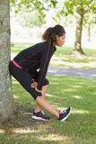 Healthy woman stretching her leg during exercise at park Royalty Free Stock Photography
