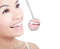 Healthy woman teeth and a dentist mouth mirror Royalty Free Stock Photos