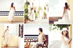A healthy woman on a tourist resort in Greece Royalty Free Stock Images