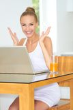 Healthy woman using laptop Royalty Free Stock Photo