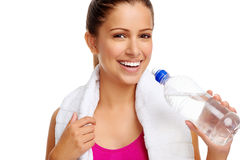 Healthy woman water bottle Royalty Free Stock Image