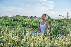 Healthy woman,Yoga woman In the lotus posture. Yoga woman In the lotus posture Stock Photos