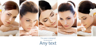 Healthy women getting spa treatment in a massaging salon Royalty Free Stock Photos