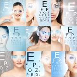 Healthy women with a laser hologram on eyes. Eye scanning technology, ophthalmology and surgery. Healthy women with a laser hologram on eyes. Collage about eye stock images