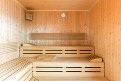 Healthy wooden steam sauna Stock Image