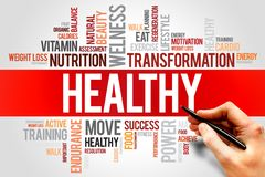 Healthy. Word cloud, fitness, sport, health concept Royalty Free Stock Photography