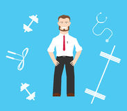 Healthy worker. Should train to get shaped and increase fitness level stock illustration