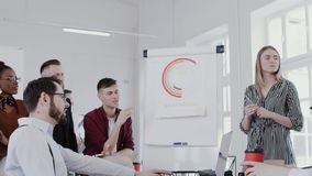 Healthy workplace. Diverse happy colleagues cooperate at creative team meeting at modern office slow motion RED EPIC. Multiethnic business people discuss work stock footage