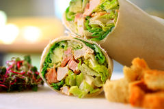 Healthy wrap with salad and croutons Royalty Free Stock Photo