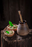Healthy yerba mate with bombilla and calabash Royalty Free Stock Images