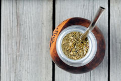 Healthy yerba mate tea  kalabash with bombilla in Royalty Free Stock Photography