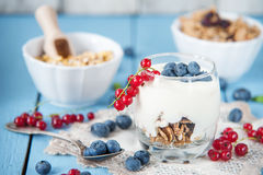 Healthy yoghurt with fruits for breakfast Royalty Free Stock Photo