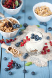 Healthy yoghurt with fruits for breakfast Stock Photos