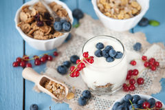 Healthy yoghurt with fruits for breakfast Stock Photography
