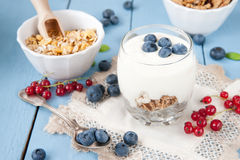 Healthy yoghurt with fruits for breakfast Royalty Free Stock Photos