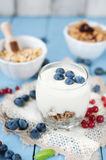 Healthy yoghurt with fruits for breakfast Stock Image