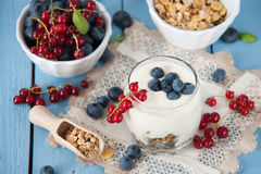 Healthy yoghurt with fruits for breakfast Royalty Free Stock Image