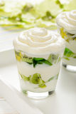 Healthy yogurt dessert with kiwi fruit, jell and cream in glass . Royalty Free Stock Images
