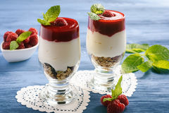 Healthy yogurt dessert with muesli and  raspberry mousse. Healthy yogurt dessert with muesli and  raspberry mousse Royalty Free Stock Image