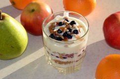 Healthy yogurt with mix of berry, sunflower seeds, bran and honey for healthy morning meal Stock Images