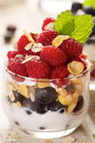 Healthy yogurt parfait with fresh  organic raspberries, blueberries and granola Royalty Free Stock Photos