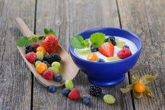 Healthy yogurt. Plain yogurt with mixed fresh fruit in a blue ceramic bowl Stock Photography