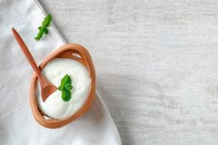 Healthy yogurt. On the table stock image