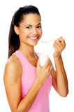 Healthy yogurt woman Stock Photo