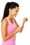 Healthy yogurt woman Stock Photos