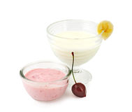 Healthy yogurts Stock Photo