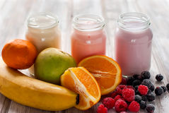 Healthy yogurts with mix of berries Royalty Free Stock Images