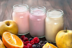 Healthy yogurts with mix of berries Stock Image
