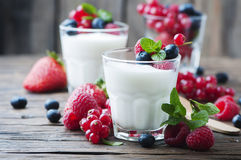 Healthy yougurt with mix of berry. Selective focus Stock Photography