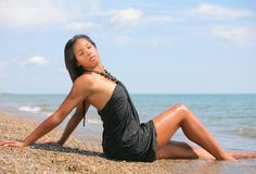 Healthy Young African American at Beach Royalty Free Stock Photos