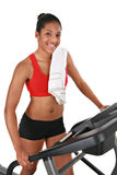 Healthy Young African American Female by Treadmill Stock Images