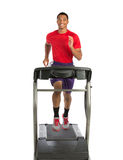 Healthy Young African American Running in Treadmill Stock Photography