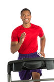 Healthy Young African American Running in Treadmill Stock Photos