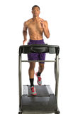 Healthy Young African American Running in Treadmill Stock Image