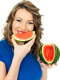 Healthy Young Attractive Woman With a Fresh Sliced Water Melon Stock Image
