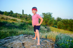 Healthy young boy doing exercises Stock Images