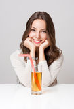 Healthy young brunette beauty. Royalty Free Stock Photography
