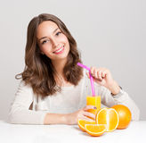 Healthy young brunette beauty. Stock Photos