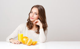 Healthy young brunette beauty. Royalty Free Stock Image