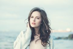 Healthy Young Brunette Woman Outdoors. Portrait Stock Photo