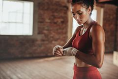 Athlete getting ready for boxing exercise royalty free stock photos