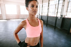 Healthy young female model standing in gym Stock Photography