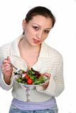 Healthy Young Girl Holding Salad Plate Royalty Free Stock Photography