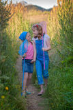 Healthy young girls with fishing nets stock images