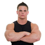 Healthy young man. Healthy, muscular, young man on a white background Royalty Free Stock Image