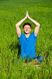 Healthy young man meditation Royalty Free Stock Photo